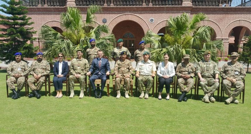 Danish Ambassador to Pakistan Jesper Sorensen and Denmark's Defence Attache pose for group photo at Military College of in Risalpur