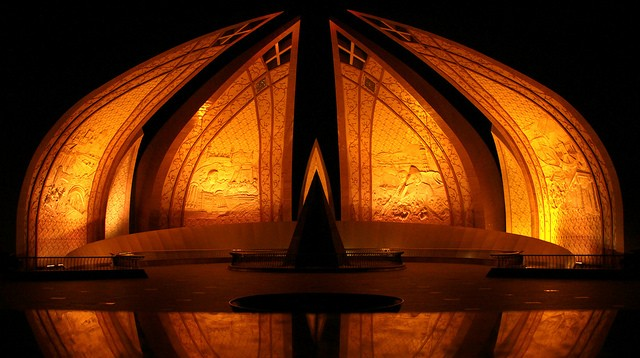 "Pakistan Monument in Islamabad go orange as part of a UN call to ""Orange the World"" to spur global action on violence against women and girls"