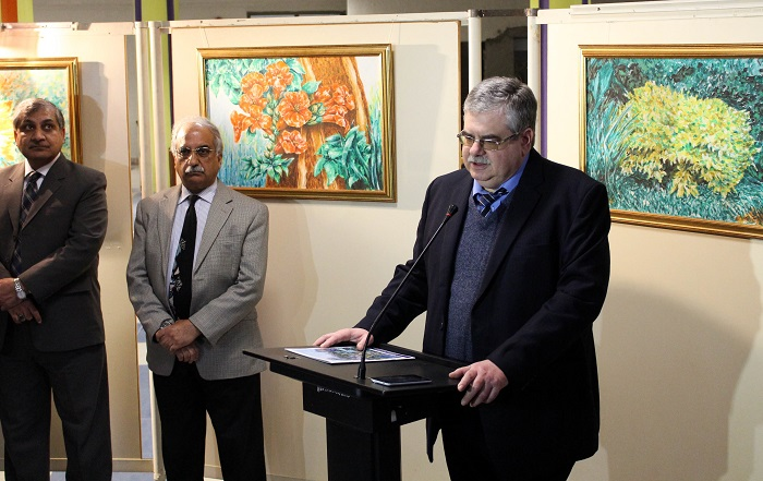Ambassador of Russia, H.E Mr. Alex Dedov, speaking at the art exhibit in Islamabad. Photo by Sana Jamal