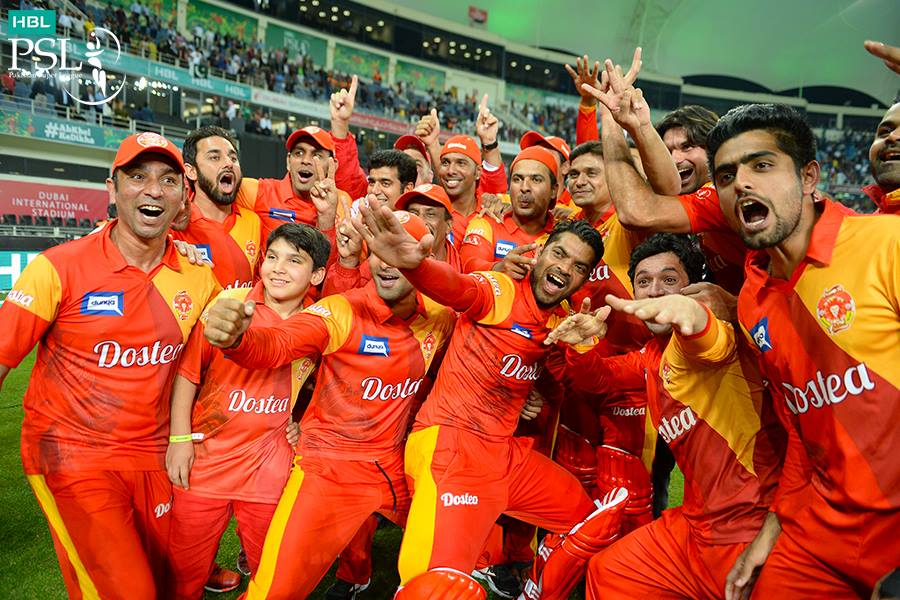 Islamabad United team cheering after winning final of first ever Pakistan Super League against Quetta Gladiators