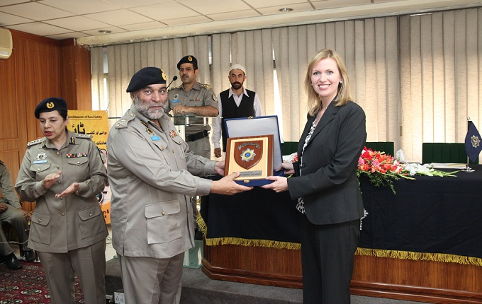 American Embassy's Director of International Narcotics and Law Enforcement Affairs (INL) Katie Stana presented 5 mini buses to Inspector General of Police Shaukat Hayat
