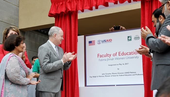 USAID's Mission Director, John Groarke, State Minister of Federal Education & Training, Dr. Balig ur Rehman, Dr. Muktar Ahmed, Chairman HEC and VC FJWU, Dr. Samina Amin Qadir inaugurated the new Faculty of Education building at Fatima Jinnah Women's University.