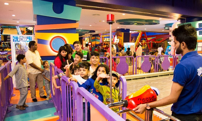 Kids waiting in line to enjoy rides at Fun City Giga Mall