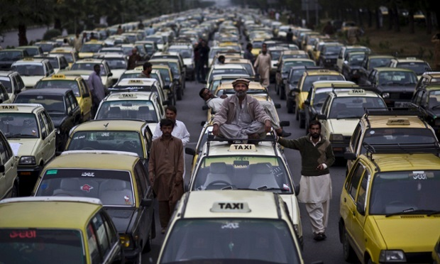 Taxi drivers protest against ride-hailing apps