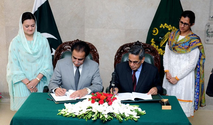 Speaker National Assembly Sardar Ayaz Sadiq signing a MOU with Lead Pakistan head at Parliament House on Thursday.