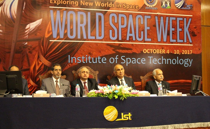 SUPARCO Chairman Qaiser Anees Khurram, Vice Chancellor of IST Imran Rehman and dean of IST Iqbal Rasool Memon at the launch event of World Space Week 2017. Photo by Sana JamalSUPARCO Chairman Qaiser Anees Khurram, Vice Chancellor of IST Imran Rehman and dean of IST Iqbal Rasool Memon at the launch event of World Space Week 2017. Photo by Sana Jamal