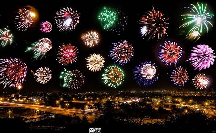 Fireworks over Islamabad, Pakistan, in 2015. Photo by Usman Miski