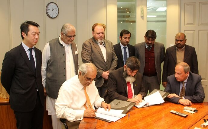 Tahir Rasheed CEO South Punjab Forest Company and Dr Amjad Bajwa CEO National Rural Support Programme sign MoU to combat climate change and increase forestry investments