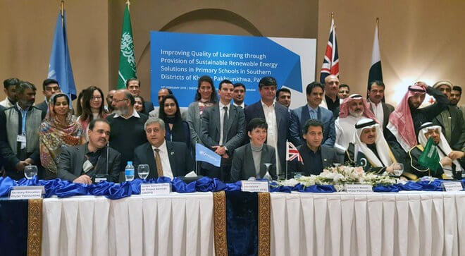 DFID Head, Joanna Reid and KP education Minister, Atif Khan with other guests at the signing ceremony. Photo courtesy: British High Commission - Islamabad