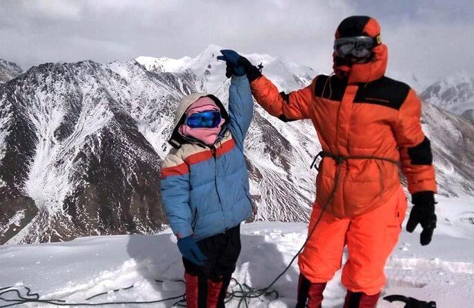 Selena Khawaja with father Yousaf Khawaja at the top of 5000 meters high Quz Sar peak. photo Provided by Selena