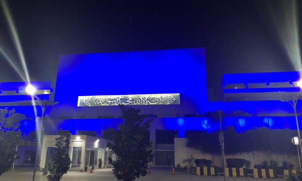 Iconic landmarks in Islamabad, Lahore, Karachi, Peshwar go blue on World Children's Day